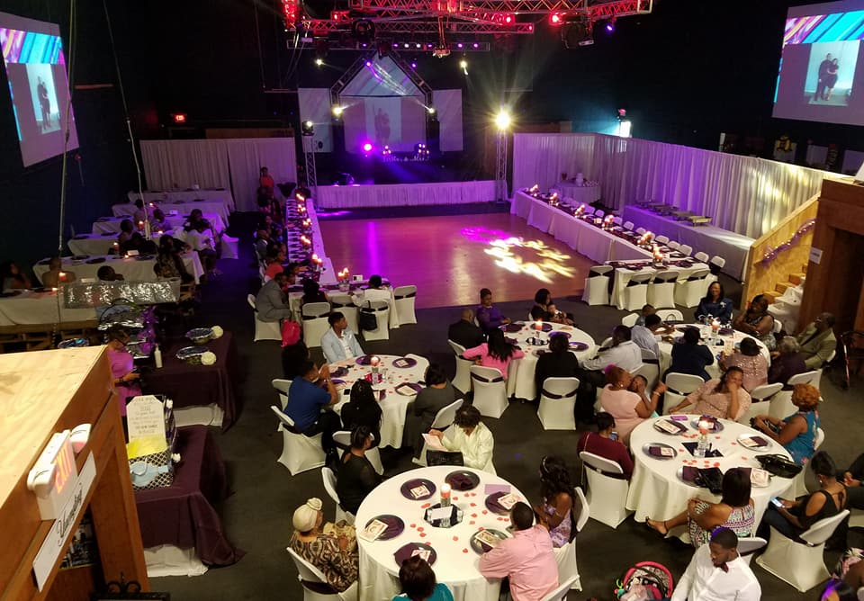 Gorgeous Wedding & Reception Venue w/ Custom Lighting & Projection Screens on Walls
